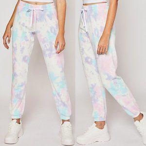 NEW Soft Fleece Pastel Tie Dye Jogger Sweat Pants